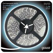 Лента светодиодная 5050/30-SMD IP20 7.2W 12V DC холодный белый 5 м Gauss 312000307