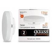 Лампа светодиодная Gauss Led Elementary GX53 GX53 13Вт 3000K 83813