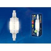 Лампа светодиодная R7s 6W 3000K трубчатая прозрачная LED-J78-6W/WW/R7s/CL PLZ06WH; UL-00001554 Uniel
