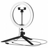 Светодиодный светильник кольцевой ДНБ-14ВТ, USB, пульт управления в комплекте (3 цветовые температуры) диаметр 16см, IP20 RL002