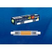 Лампа светодиодная LED-J78 R7s 7Вт 3000K LED-J78-7W/3000K/R7s/CL GLZ07TR; UL-00005061 Uniel
