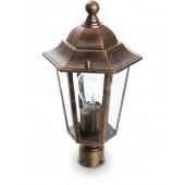 11129; Светильник садово-парковый 6103/PL6103 шестигранный на столб 60W E27 230V, черное золото