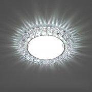Светильник встраиваемый с белой LED подсветкой CD4045 потолочный GX53 без лампы, прозрачный, хром; 41409