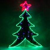 Световая фигура 230V, каркас - дюралайт 8м 24 LED/м (зеленый+красный), внутри - хвоя с гирляндой 20LED стробы (красный+синий), шнур 1,5м IP44, 111x87 см, LT061; 26950