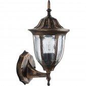 11897; Светильник садово-парковый PL6301 шестигранный на стену вверх 60W E27 230V, черное золото