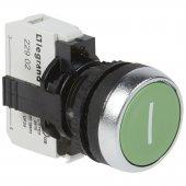 023709; Кнопка с потайным толкателем Osmoz в сборе IP66 зеленый с маркеровкой ''I''