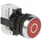 023708; Кнопка с потайным толкателем Osmoz в сборе IP66 красный с маркеровкой ''O''