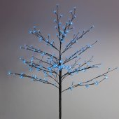 """531-243; Дерево комнатное """"Сакура"""", коричневый цвет ствола и веток, высота 1.2 метра, 80 светодиодов синего цвета, трансформатор IP44"""