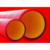 160912 Труба жесткая двустенная для электропроводки и кабельных линий, в комплекте с соединительной муфтой, наружный ф125мм, жесткость 10 кПа, цвет красный, длина 6 м (цена за 1м)
