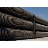 151911 Труба гибкая двустенная для открытой прокладки ПВ-0, УФ, д.110мм, цвет черный в бухте 50м., с протяжкой
