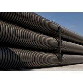 151990 Труба гибкая двустенная для открытой прокладки ПВ-0, УФ, д.90мм, цвет черный, в бухте 50м., с протяжкой
