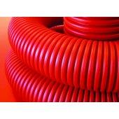 120990 Труба двустенная гибкая гофрированная для электропроводки и кабельных линий, без протяжки, в комплекте с соединительной муфтой, наружный ф90мм, в бухте 50м, цвет красный (цена за метр)