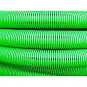 140990 Труба двустенная гибкая гофрированная дренажная, класс жесткости SN6, перфорация 360°, в комплекте с соединительной муфтой, наружный ф90мм, в бухте 50м, цвет зелёный (цена за метр)
