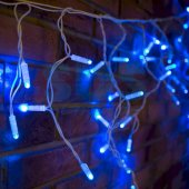 255-033-6; Гирлянда Айсикл (бахрома) светодиодная 2.4х0.6 м, белый провод, 230 В, диоды синие, 76 LED