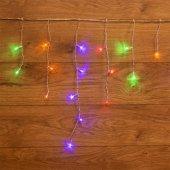 255-019; Гирлянда Айсикл (бахрома) светодиодная 1.8х0.5 м, прозрачный провод, 230 В, диоды МУЛЬТИКОЛОР