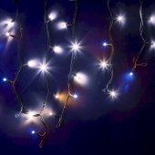 """255-235; Гирлянда Айсикл (бахрома) светодиодная 4.0х0.6 м, с эффектом мерцания, черный провод """"КАУЧУК"""", 230 В, диоды белые,"""