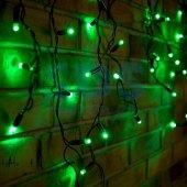 255-044; Гирлянда Айсикл (бахрома) светодиодная 2.4х0.6 м, черный провод, 230 В, диоды зелёные, 88 LED