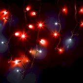 """255-232; Гирлянда Айсикл (бахрома) светодиодная 4.0х0.6 м, с эффектом мерцания, черный провод """"КАУЧУК"""", 230 В, диоды красные, 128 LED"""