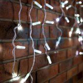 255-025; Гирлянда Айсикл (бахрома) светодиодная 1.8х0.5 м, белый провод, 230 В, диоды белые, 48 LED