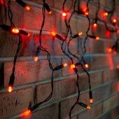 255-042; Гирлянда Айсикл (бахрома) светодиодная 2.4х0.6 м, черный провод, 230 В, диоды красные, 88 LED