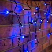 255-031; Гирлянда Айсикл (бахрома) светодиодная 2.4х0.6 м, черный провод, 230 В, диоды синие, 88 LED