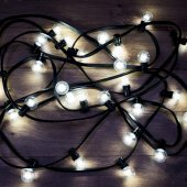 331-325; Гирлянда LED Galaxy Bulb String 10м, черный КАУЧУК, 30 лампx6 LED БЕЛЫЕ, влагостойкая IP65