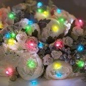 302-009; Гирлянда «Роса» с крупными каплями 2 м, 20 LED, цвет свечения мультиколор, 2хCR2032 в комплекте, тонкий батарейный блок