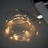 315-976; Гирлянда «Роса» 10 м, 100 LED, USB, теплое белое свечение
