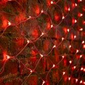 """215-042; Гирлянда """"Сеть"""" 2х1.5м, свечение с динамикой, прозрачный ПВХ, 288 LED, 230 В, цвет: красный"""
