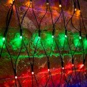 """215-009; Гирлянда """"Сеть"""" 2х2х1.5м, свечение с динамикой, черный ПВХ, 136 LED, 230 В, цвет: Мультиколор"""