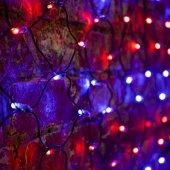 """215-013; Гирлянда """"Сеть"""" 2х0.7м, черный ПВХ, 176 LED Красные/Синие"""