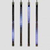 256-124; Сосулька светодиодная 50 см, 9.5V, двухсторонняя, 32х2 светодиодов, пластиковый корпус черного цвета, цвет светодиодов синий