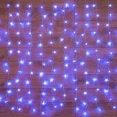 """235-033; Гирлянда """"Светодиодный Дождь"""" 1.5х1.5м, свечение с динамикой, прозрачный провод, 230 В, диоды СИНИЕ"""