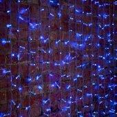 """235-303-6; Гирлянда """"Светодиодный Дождь"""" 2х1.5м, постоянное свечение, прозрачный провод, 230 В, диоды СИНИЕ, 192 LED"""