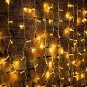 """235-306-6; Гирлянда """"Светодиодный Дождь"""" 2х1.5м, постоянное свечение, прозрачный провод, 230 В, диоды теплый белый, 192 LED"""