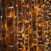 """237-136; Гирлянда """"Светодиодный Дождь"""" 2х3м, постоянное свечение, белый провод """"КАУЧУК"""", 230 В, диоды теплый белый, 760 LED"""