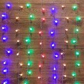 """235-049; Гирлянда """"Светодиодный Дождь"""" 1.5x1.5 м, с насадками шарики, свечение с динамикой, прозрачный провод, 230 В, диоды Мультиколор"""