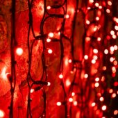 """237-142; Гирлянда """"Светодиодный Дождь"""" 2х3м, постоянное свечение, черный провод """"КАУЧУК"""", 230 В, диоды КРАСНЫЕ, 760 LED"""