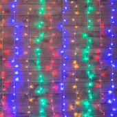 """235-039; Гирлянда """"Светодиодный Дождь"""" 1.5х1.5м, свечение с динамикой, прозрачный провод, 230 В, диоды МУЛЬТИКОЛОР"""