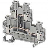 Клеммник винтовой проходной, сечением провода 2,5мм², 2вх/2вых серый; NSYTRV24D
