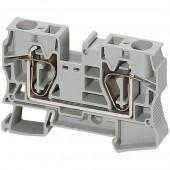 Клеммник пружинный проходной 16 мм² 2тчк. серый; NSYTRR162