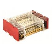 BD3160104 Блок распределительный на DIN рейку c выносной клеммой, 4 полюса, 160А, 10 отверстий (7отв. ф7, 1отв. ф8, 1отв. ф9, 1отв. ф12)