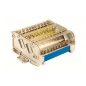 BD125154 Блок распределительный на DIN рейку, 4 полюса, 125А, 15 отверстий (10отв. ф6, 2отв. ф6,9, 2отв. ф8, 1отв. ф9)