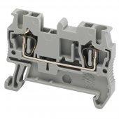 Клеммник пружинный проходной 2 5 мм² 2тчк. серый; NSYTRR22