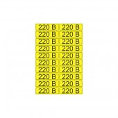 56-0007-1; Наклейка знак электробезопасности «220 В» 15х50 мм (20 шт на листе)