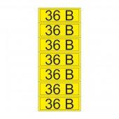 56-0009-2; Наклейка знак электробезопасности «36 В» 35х100 мм (7шт на листе)