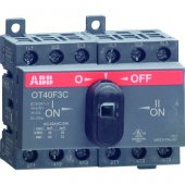 1SCA104913R1001; Рубильник (выключатель нагрузки) OT40F3С до 40А реверсивный трехполюсный 3P с резервной ручкой DIN/винт