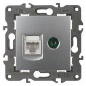 Розетка комбинированная RJ45+TV Elegance алюминий 14-3110-03; Б0034316