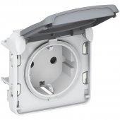 Розетка 2К+З с винтовыми зажимами немецкий стандарт Plexo серый 16А 250В; 069571