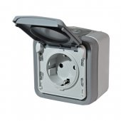 Розетка 2К+3 немецкий стандарт с винтовыми зажимами Plexo серый 16А 250В; 069733